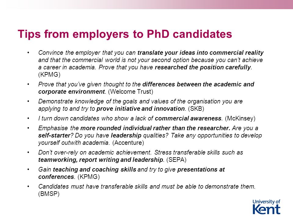 Tips from employers to PhD candidates