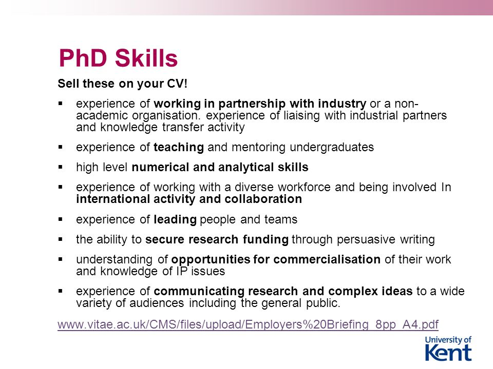 PhD Skills Sell these on your CV!