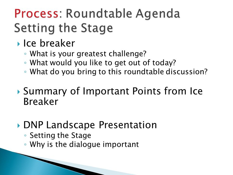 Process: Roundtable Agenda Setting the Stage