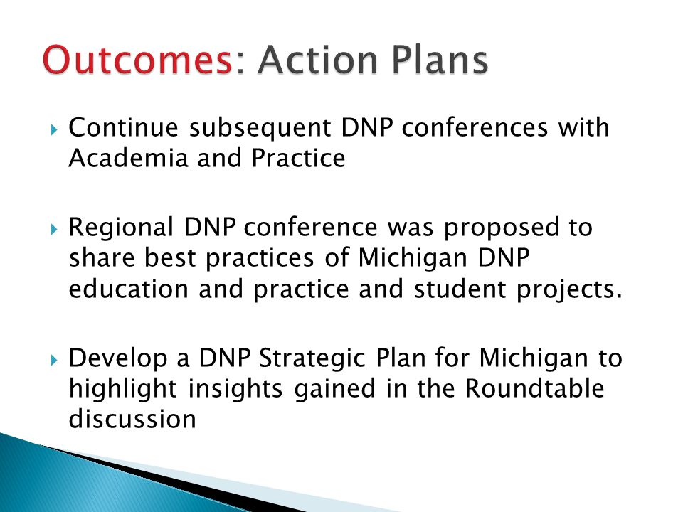 Outcomes: Action Plans