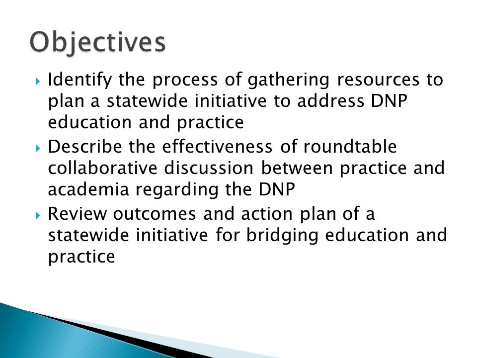 Objectives Identify the process of gathering resources to plan a statewide initiative to address DNP education and practice.