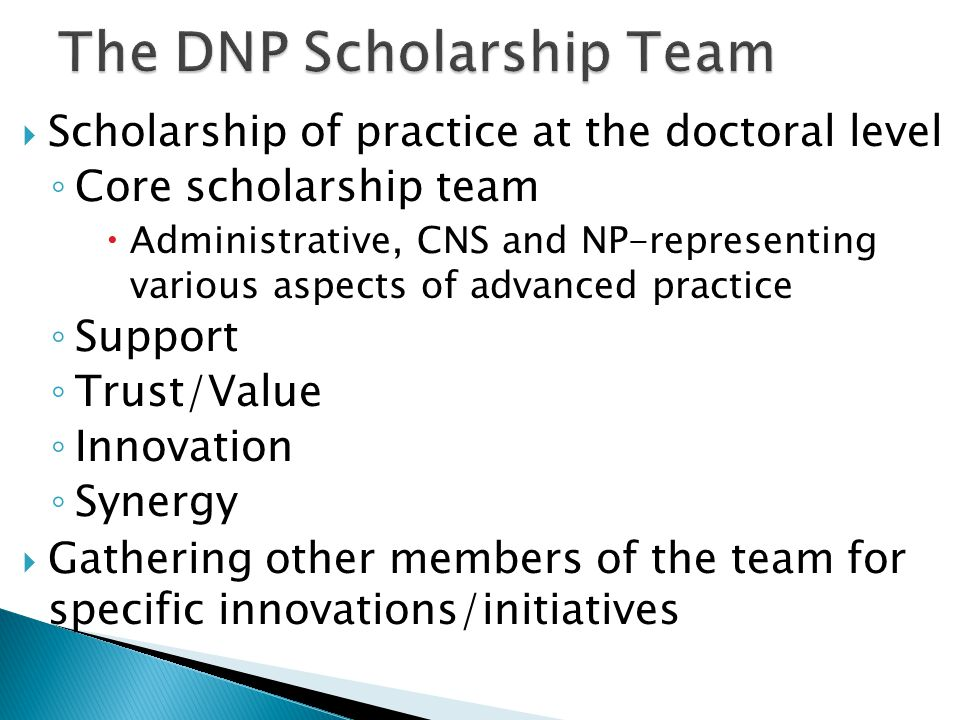 The DNP Scholarship Team