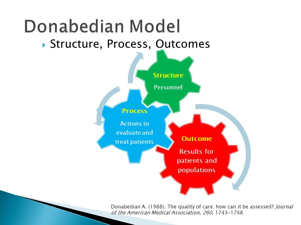 Donabedian Model Structure, Process, Outcomes Process Structure