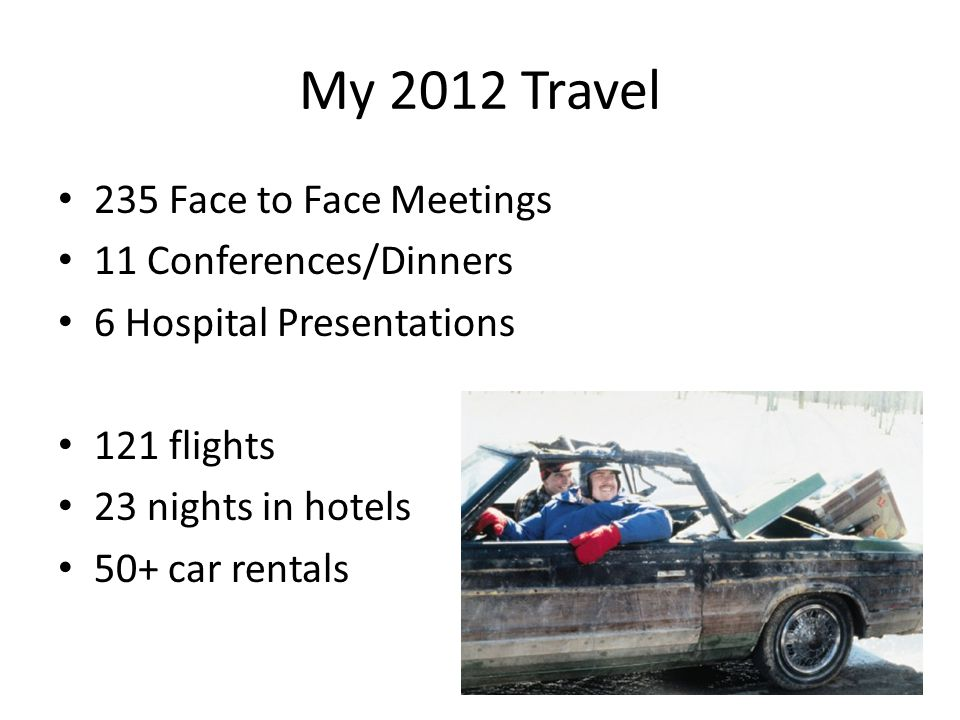 My 2012 Travel 235 Face to Face Meetings 11 Conferences/Dinners