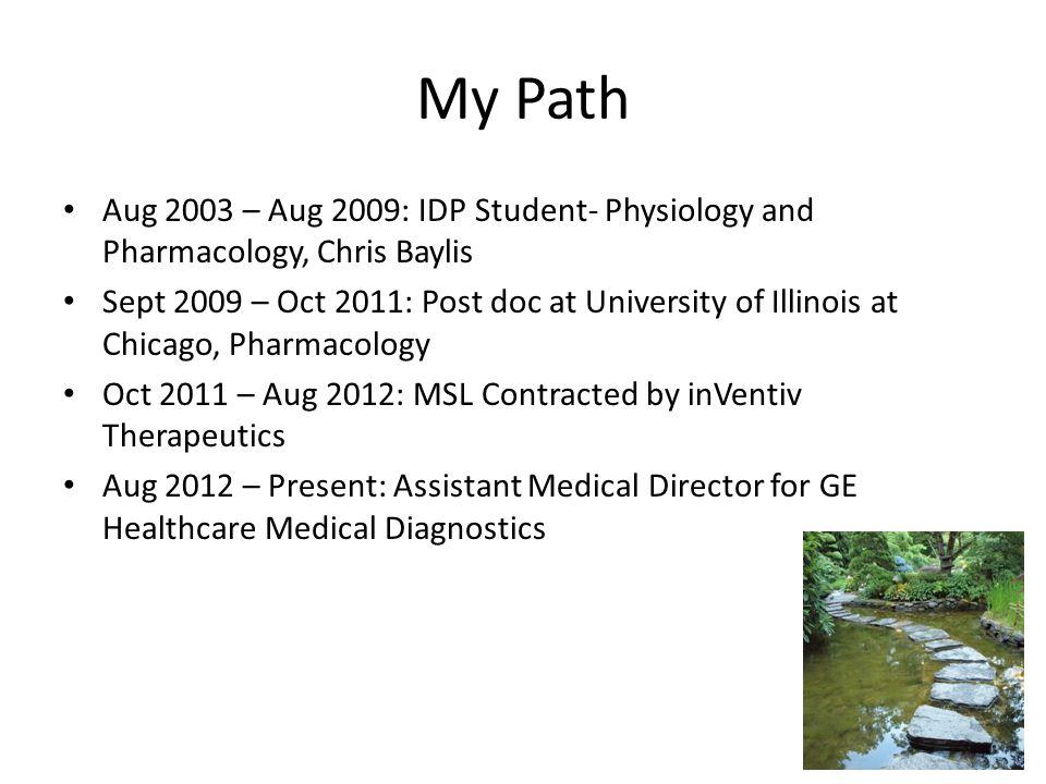 My Path Aug 2003 – Aug 2009: IDP Student- Physiology and Pharmacology, Chris Baylis.