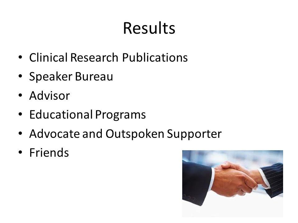 Results Clinical Research Publications Speaker Bureau Advisor
