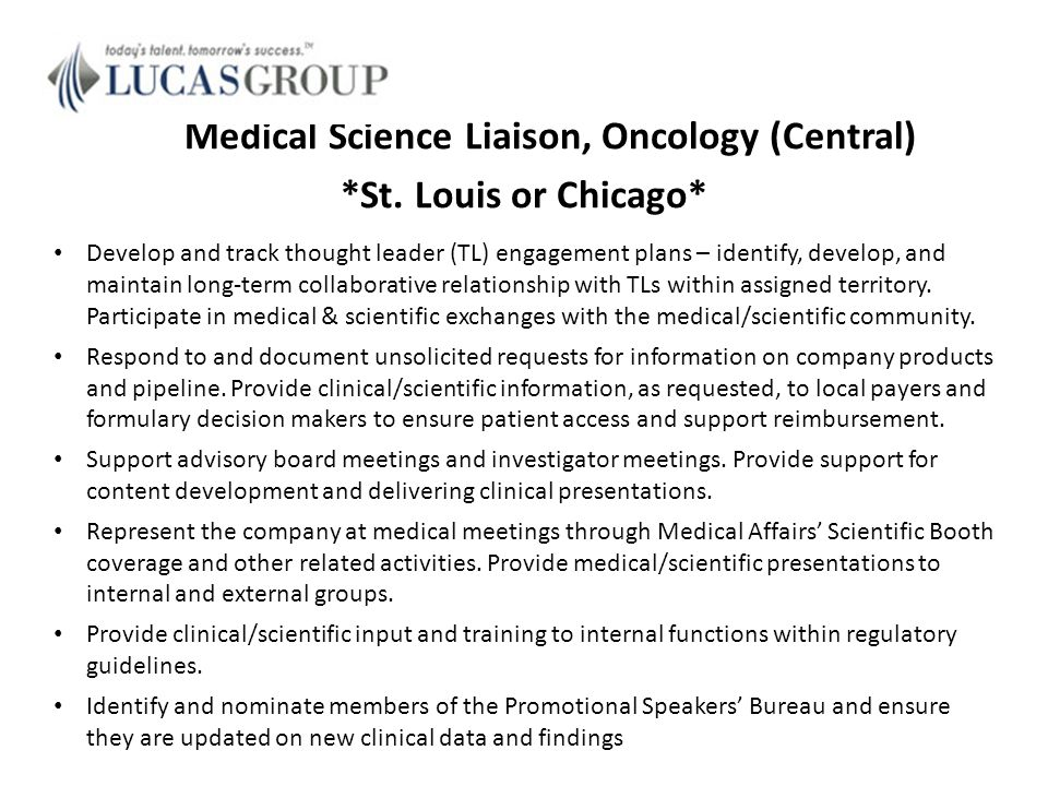 medical science liaison cover letter