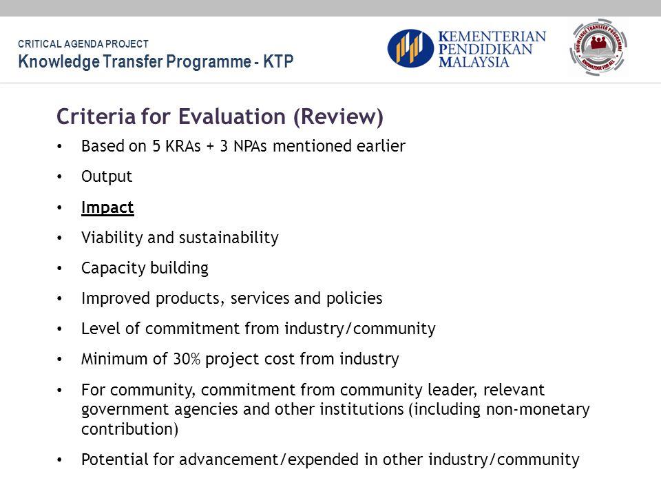 Criteria for Evaluation (Review)
