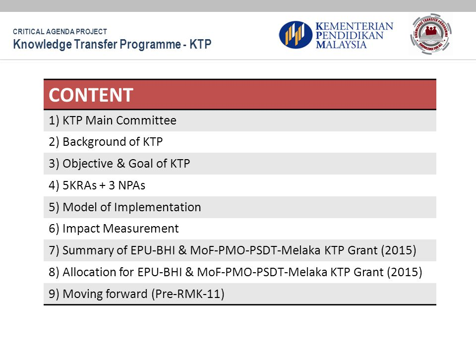 CONTENT Knowledge Transfer Programme - KTP 1) KTP Main Committee
