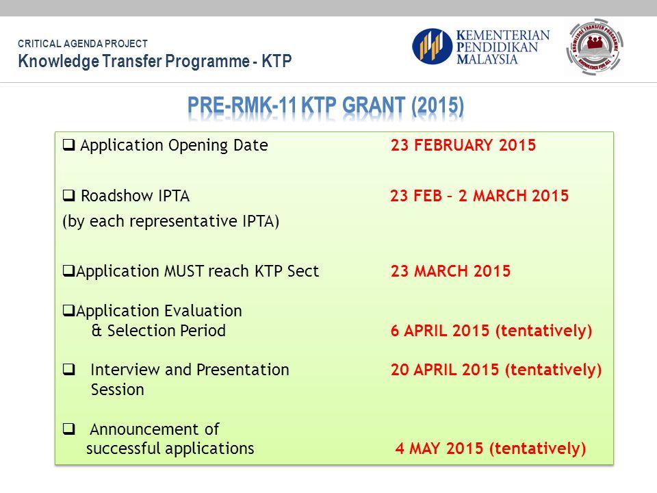 PRE-RMK-11 KTP GRANT (2015) Knowledge Transfer Programme - KTP