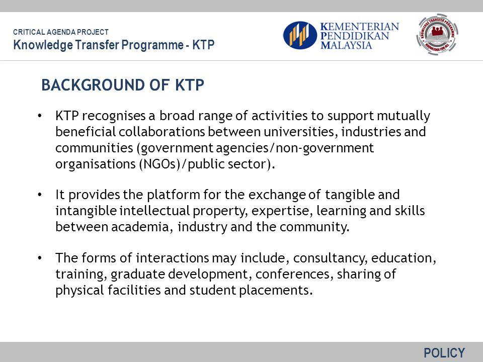 BACKGROUND OF KTP Knowledge Transfer Programme - KTP
