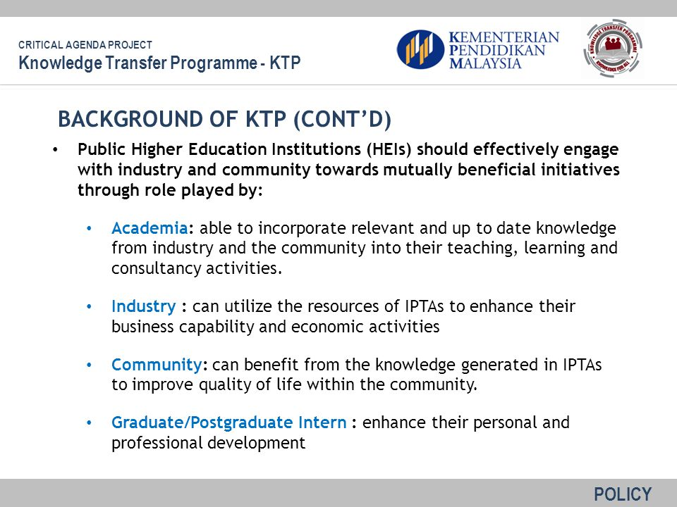 BACKGROUND OF KTP (CONT'D)