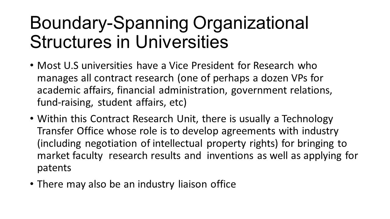 Boundary-Spanning Organizational Structures in Universities