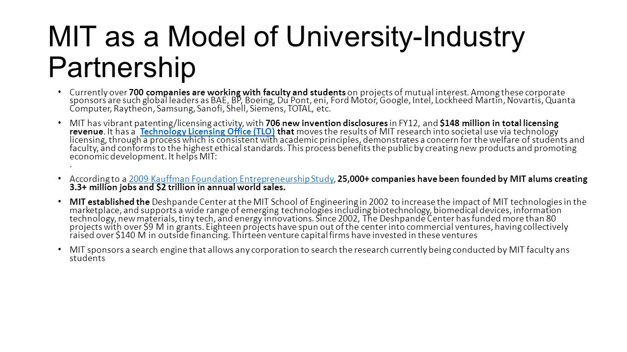 MIT as a Model of University-Industry Partnership