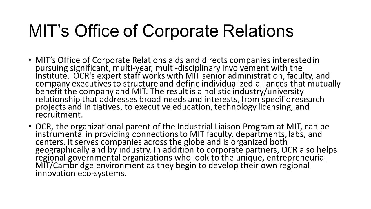 MIT's Office of Corporate Relations