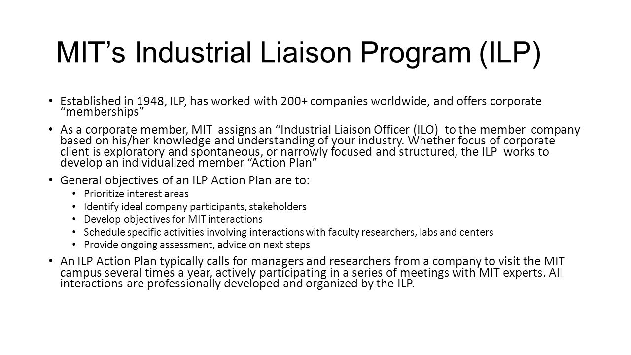 MIT's Industrial Liaison Program (ILP)