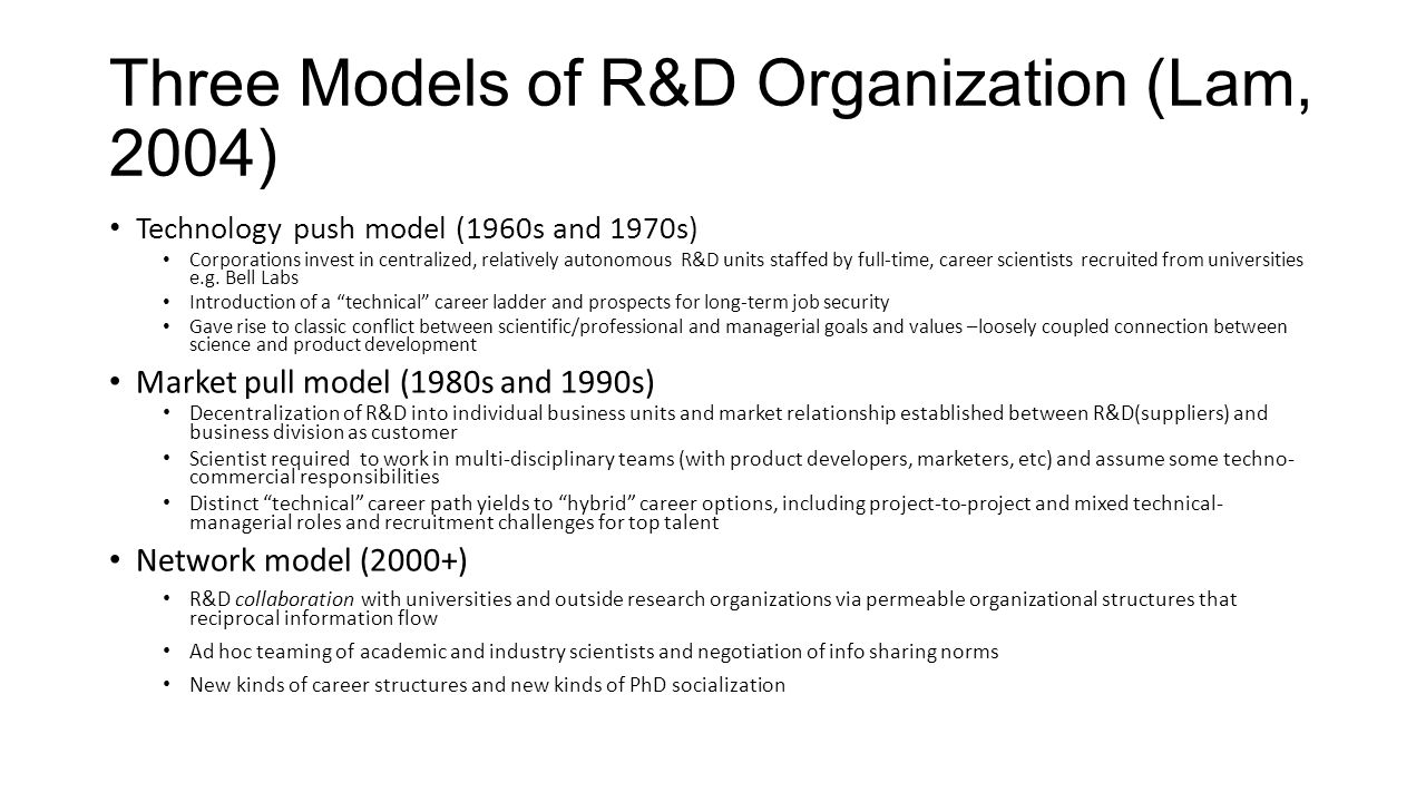 Three Models of R&D Organization (Lam, 2004)