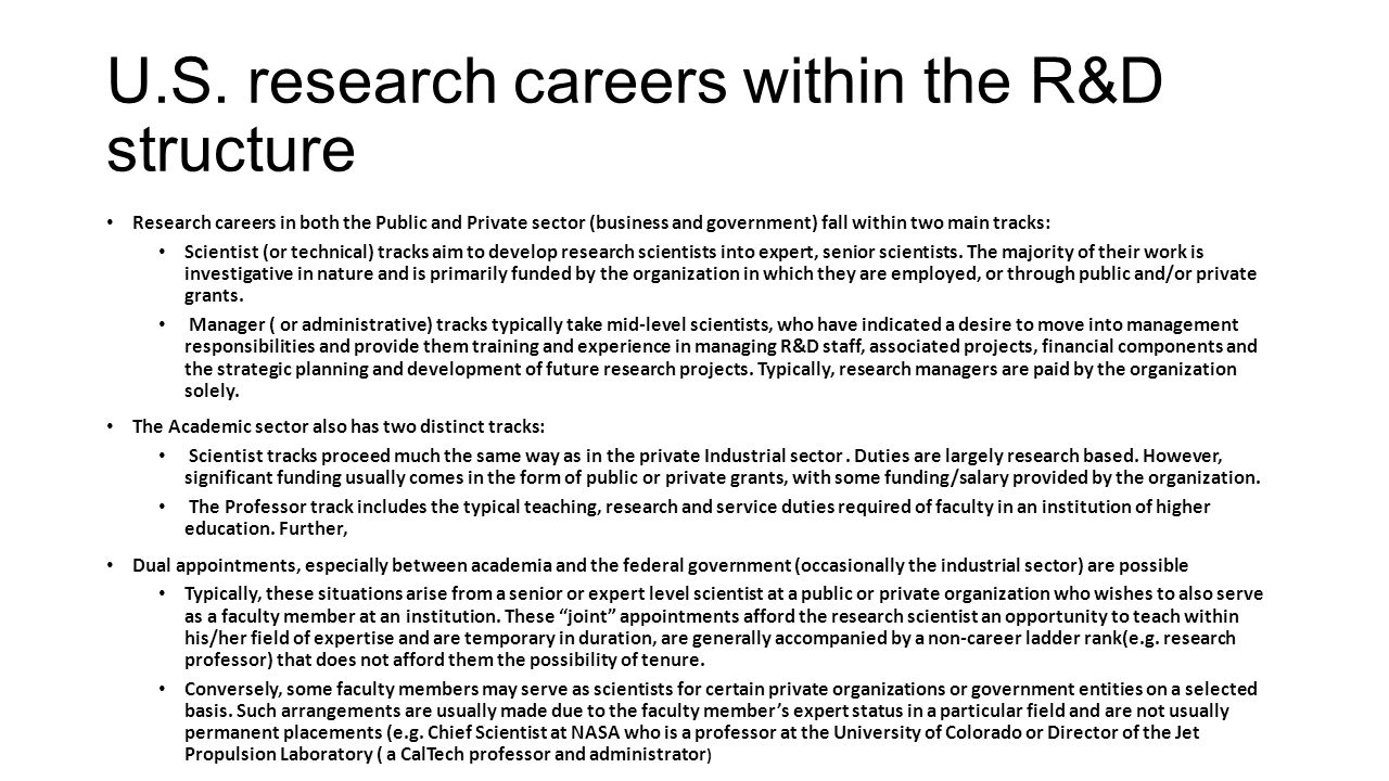 U.S. research careers within the R&D structure