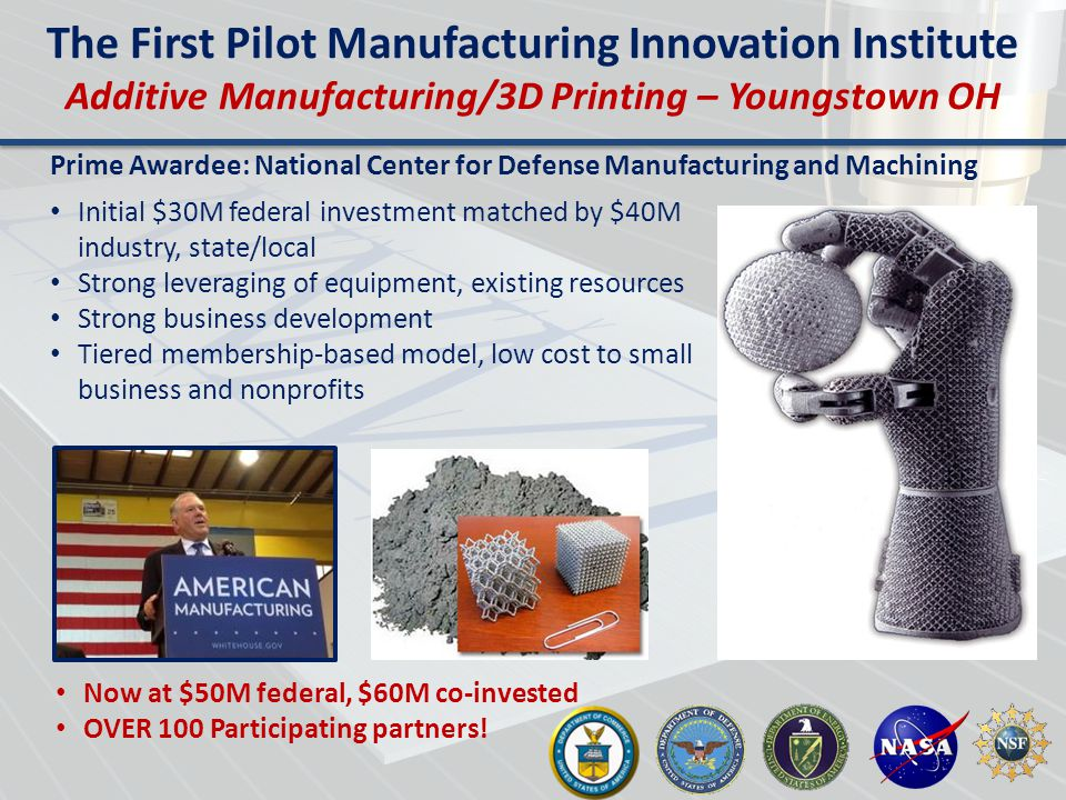 The First Pilot Manufacturing Innovation Institute Additive Manufacturing/3D Printing – Youngstown OH