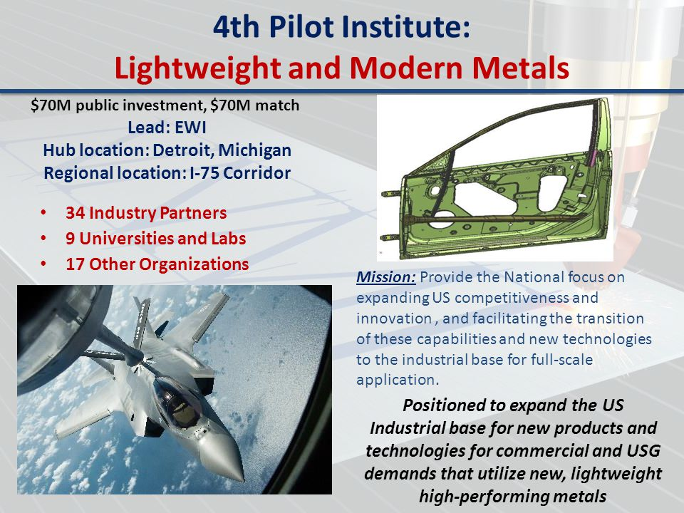 4th Pilot Institute: Lightweight and Modern Metals