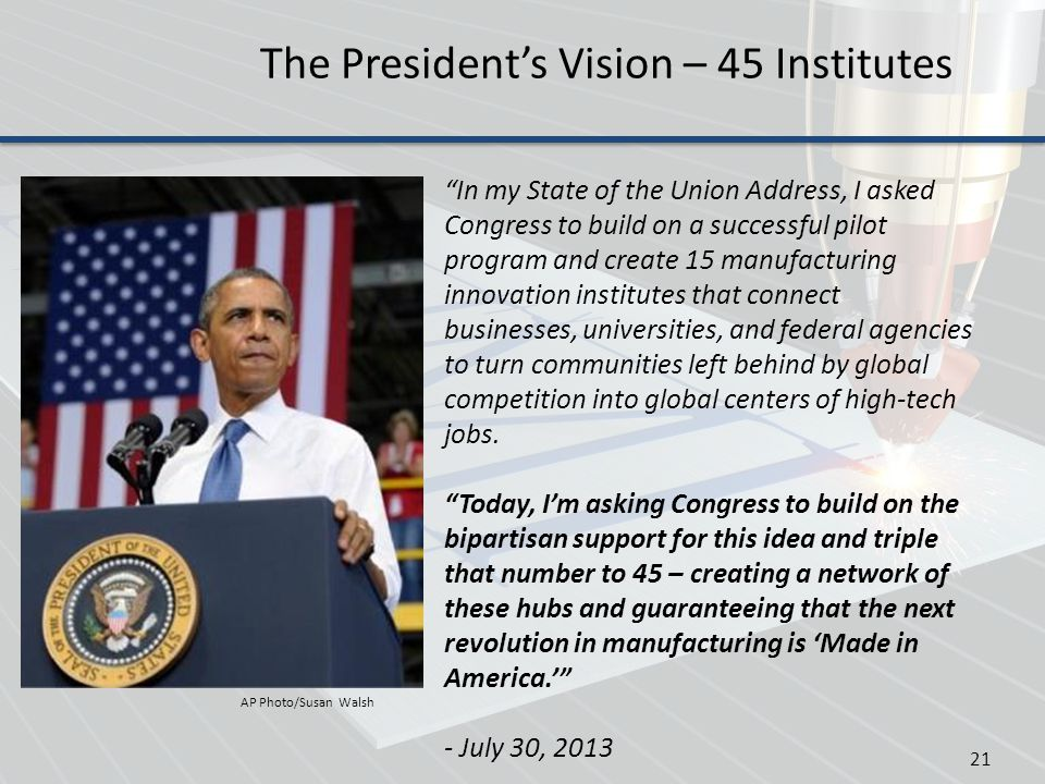 The President's Vision – 45 Institutes