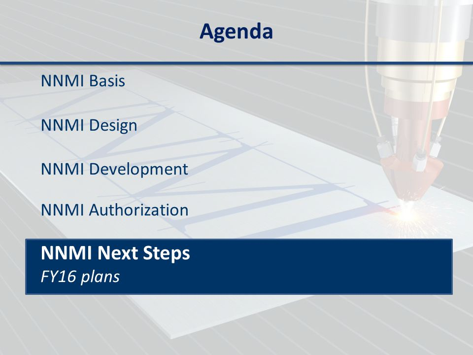 Agenda NNMI Next Steps NNMI Basis NNMI Design NNMI Development
