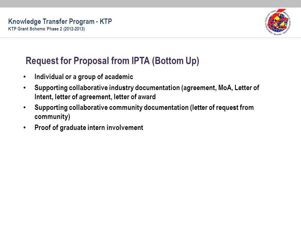 Request for Proposal from IPTA (Bottom Up)