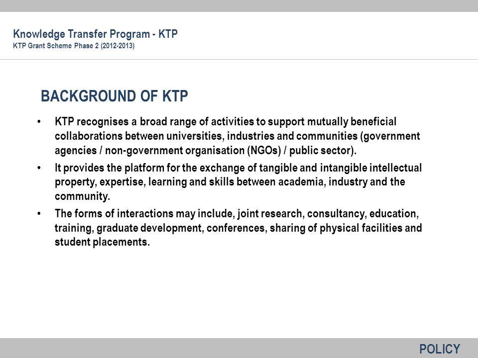 BACKGROUND OF KTP POLICY Knowledge Transfer Program - KTP