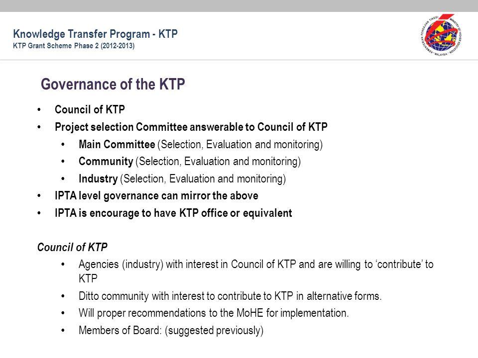 Governance of the KTP Knowledge Transfer Program - KTP Council of KTP