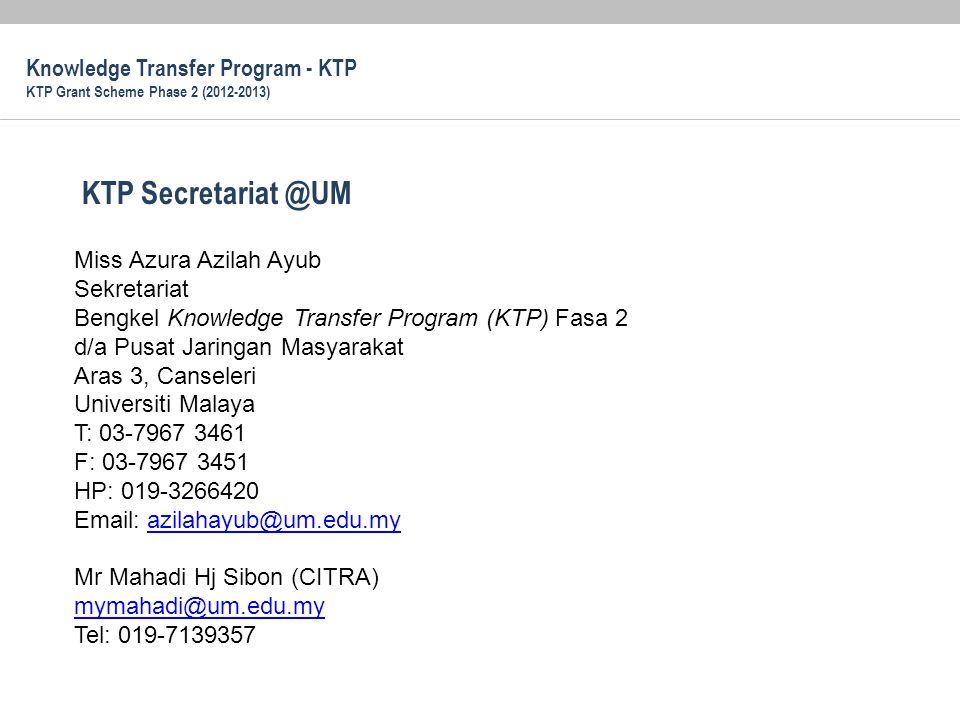 KTP Secretariat @UM Knowledge Transfer Program - KTP
