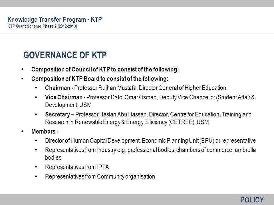 GOVERNANCE OF KTP POLICY Knowledge Transfer Program - KTP