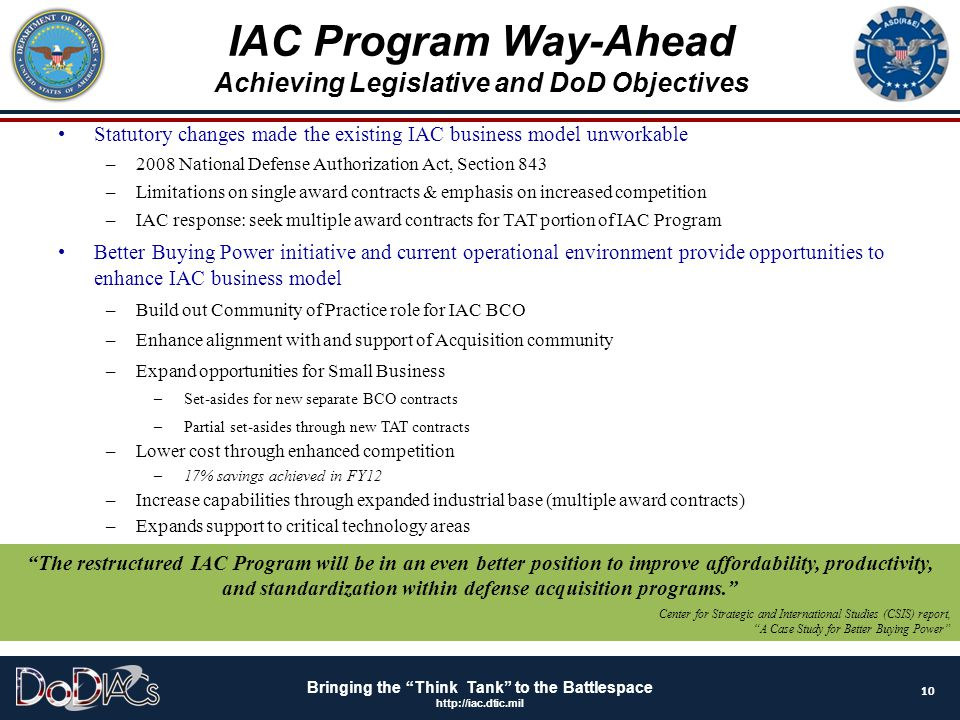Achieving Legislative and DoD Objectives