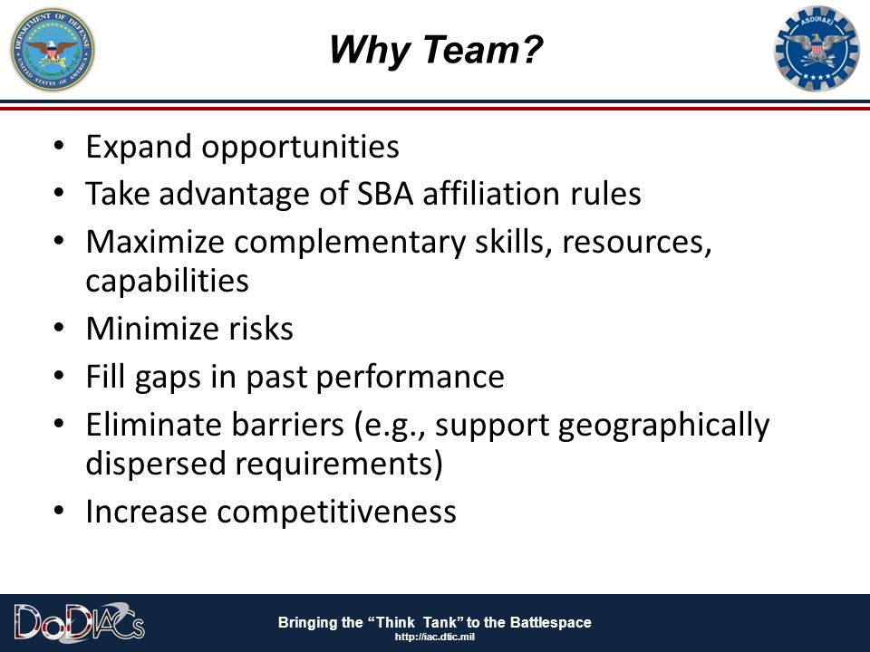 Why Team Expand opportunities Take advantage of SBA affiliation rules