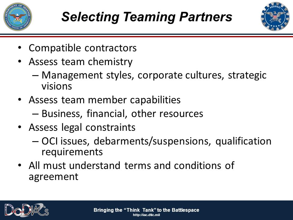 Selecting Teaming Partners