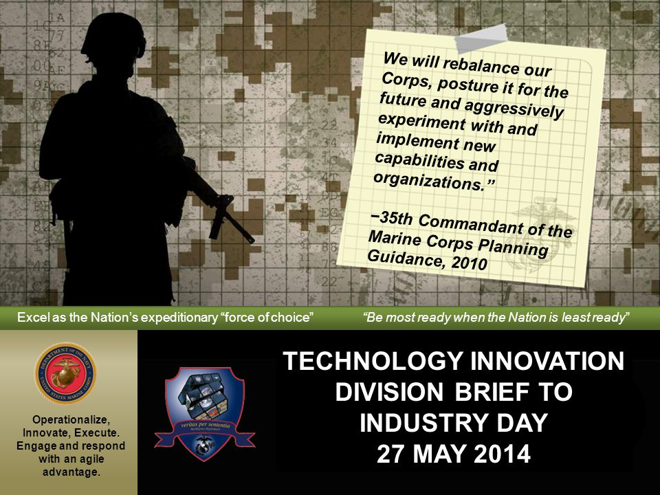 Technology Innovation Division Brief to Industry Day