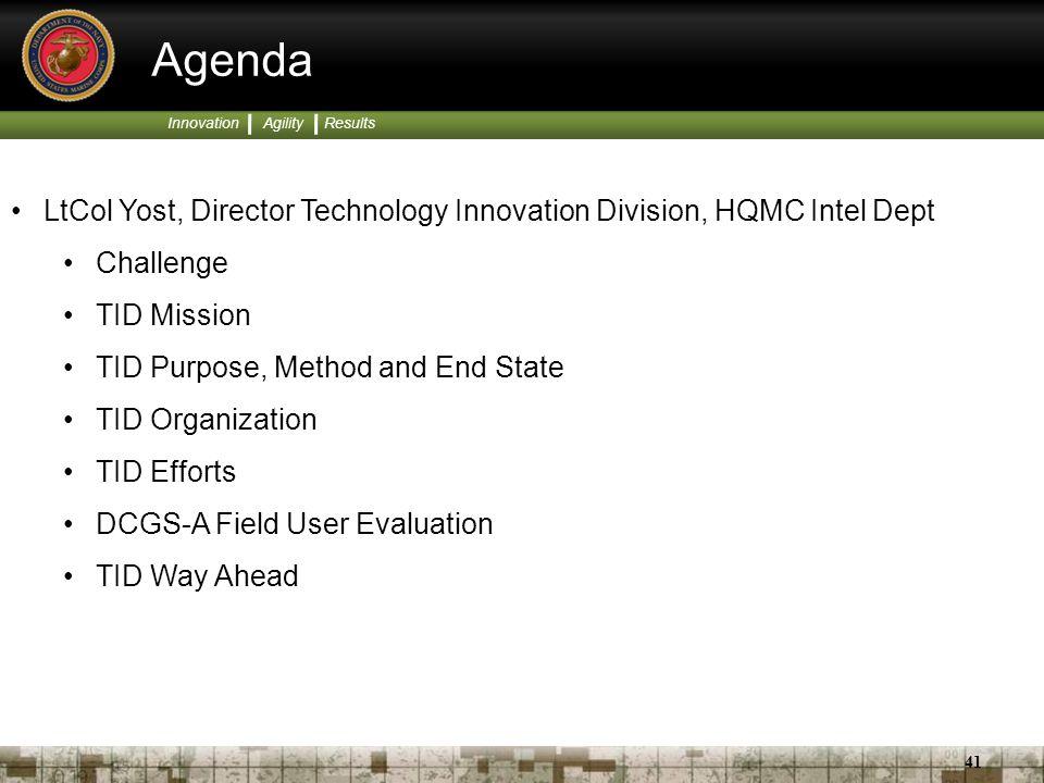 Agenda LtCol Yost, Director Technology Innovation Division, HQMC Intel Dept. Challenge. TID Mission.