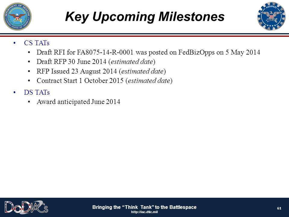 Key Upcoming Milestones