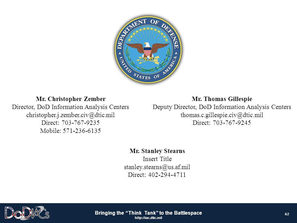 Mr. Christopher Zember Director, DoD Information Analysis Centers christopher.j.zember.civ@dtic.mil Direct: 703-767-9235 Mobile: 571-236-6135