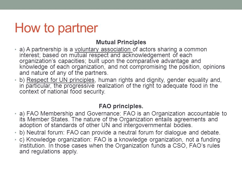 How to partner Mutual Principles