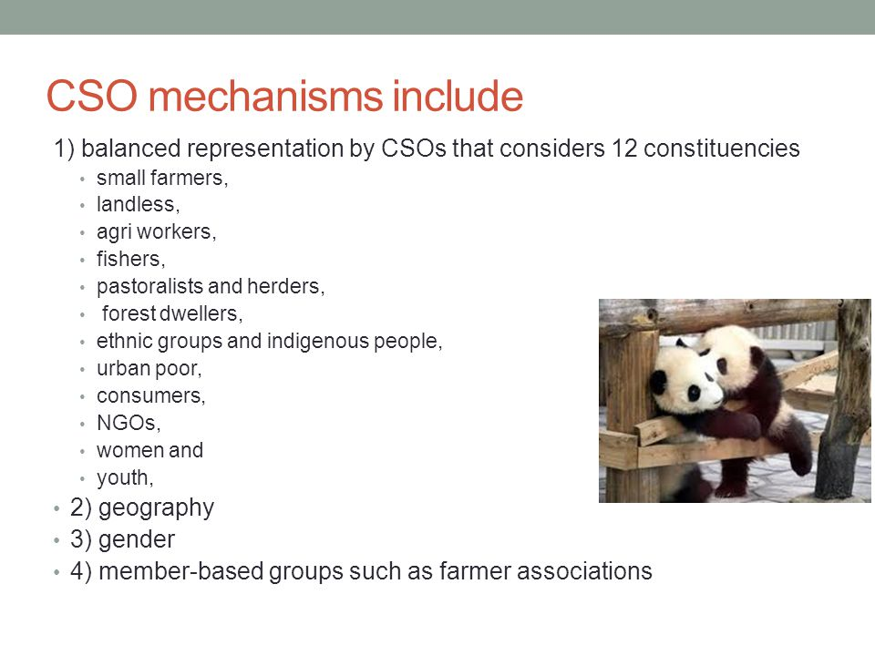 CSO mechanisms include