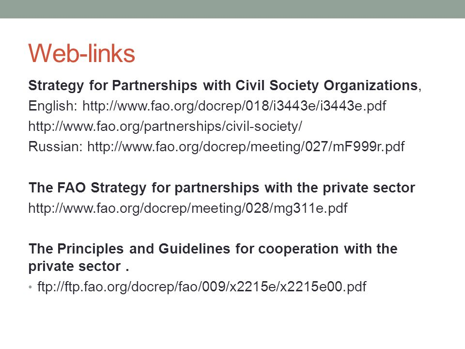 Web-links Strategy for Partnerships with Civil Society Organizations,