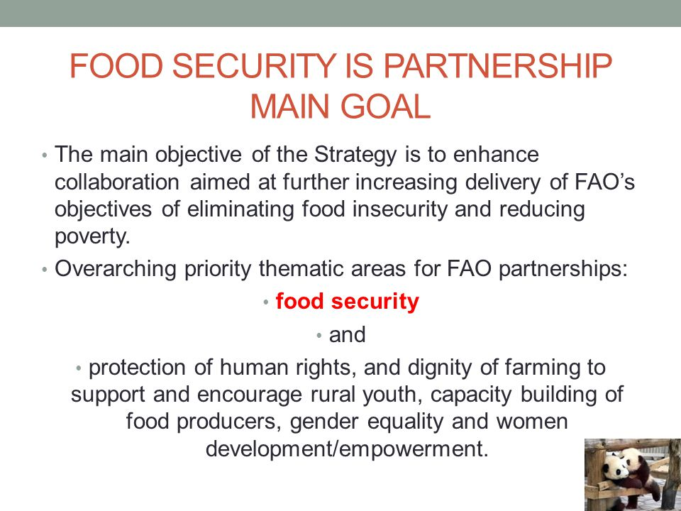 food security is partnership main goal
