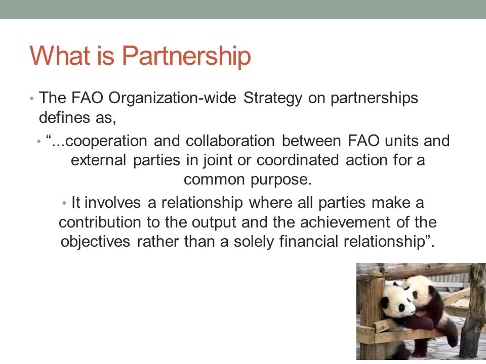 What is Partnership The FAO Organization-wide Strategy on partnerships defines as,