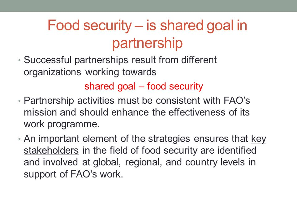 Food security – is shared goal in partnership