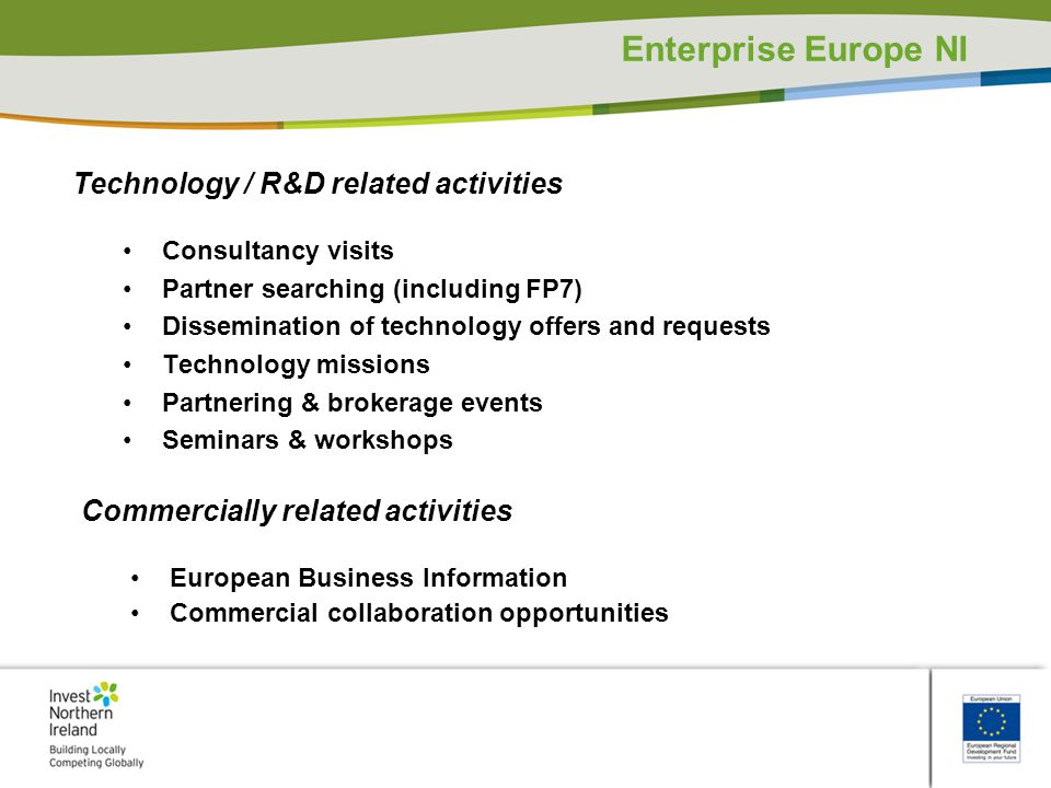 Enterprise Europe NI Technology / R&D related activities