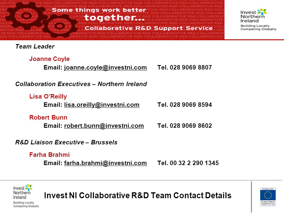 Invest NI Collaborative R&D Team Contact Details