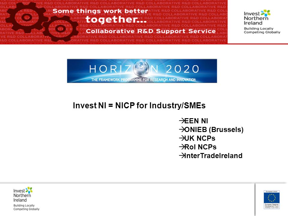 Invest NI = NICP for Industry/SMEs