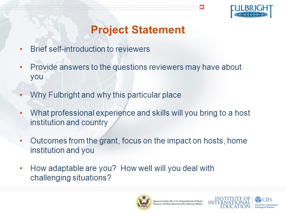 Project Statement Brief self-introduction to reviewers