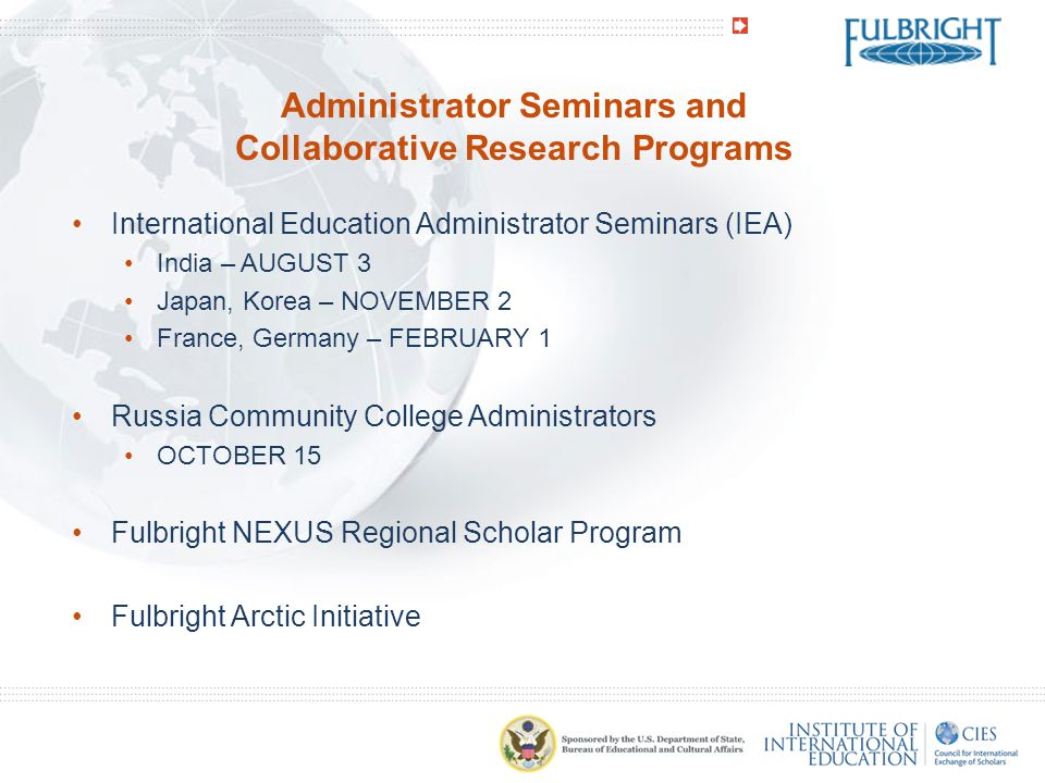 Administrator Seminars and Collaborative Research Programs