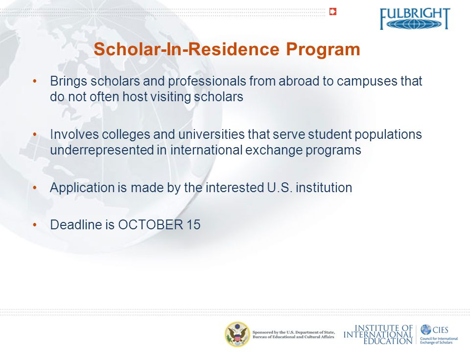 Scholar-In-Residence Program